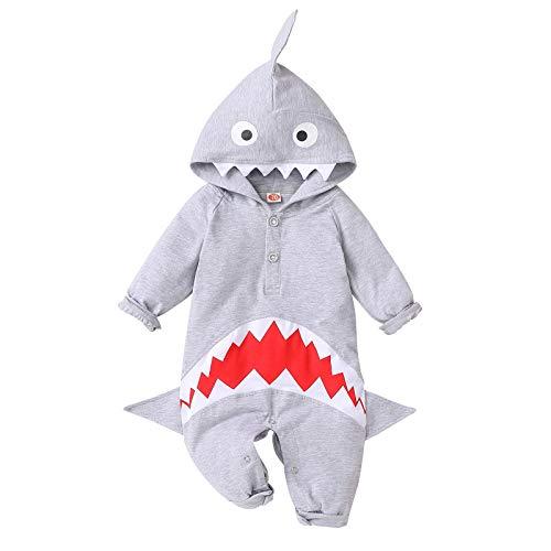 Puseky - Mono con capucha para bebé, diseño de tiburón