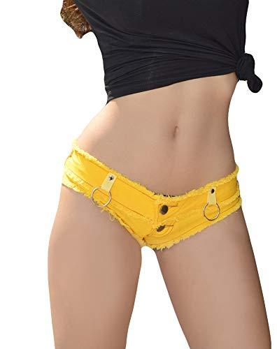 Hoverwin Shorts Mujer Verano, Mini Jean Sexy, Jeans Short Denim Cintura Baja, Night Club Wear–Negro, Blanco, Azul, Amarillo, Amarillo, S