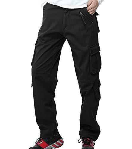 Pantalones técnicos de combate AYG, para hombre, interior de forro polar, cintura ancha, Otoño/Invierno, cargo, Hombre, color black#022, tamaño 34W/33L