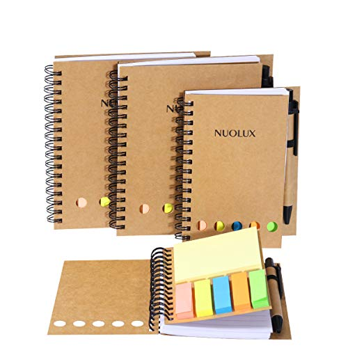 NUOLUX 4 Pack Spiral Notebook wi...