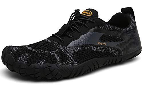 Voovix Barfußschuhe Herren Damen Outdoor Fitnessschuhe Traillaufschuhe Atmungsaktive rutschfeste Laufschuhe(Schwarz,42)