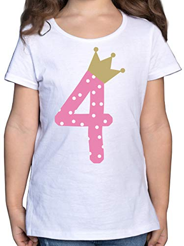Geburtstag Kind - 4. Geburtstag Krone Mädchen - 116 (5/6 Jahre) - Weiß - 4 Jahre Tshirt mädchen - F131K - Mädchen Kinder T-Shirt