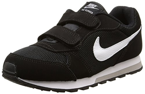 Nike Jungen Md Runner 2 (Psv) Low-Top, Schwarz (Black/White-Wolf Grey), 34 EU