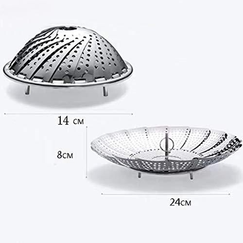 SMXGF Roestvrijstalen stomen rack keuken opklapbare stomer creatieve verwarming gelaagde multifunctionele stomen tray stomen rack (Color : S)
