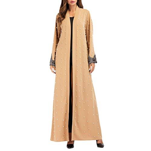 Dames mode moslim kleding voor Marokkaanse jurk Islamitische vrouwen front modieus compleeti open lange avondjurken lange mouwen parelborduurwerk maxikleding dresses voor vrouwen