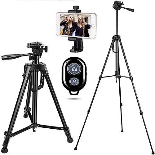 Handy Stativ Kamera Stativ iPhone Stativ mit Handy Halterung und Bluetooth Fernbedienung für Smartphone,DSLR,Gopro,Systemkameras Fotostativ