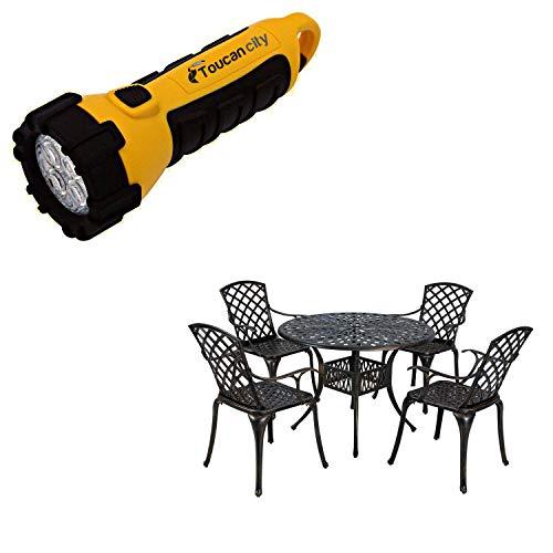 Toucan City LED Flashlight and CASAINC 5-Piece Aluminum Round Outdoor Bistro Set with Umbrella Hole XGN1711
