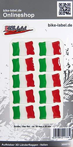 Bike Label 300070 Aufkleber 3D Länder-Flaggen Italien Italy 10 Stck je 30 x 20mm