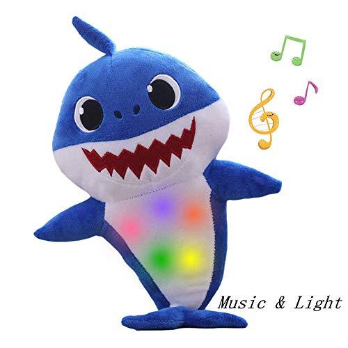 Lsxszz8-Weichem Plüsch Baby Shark Toy Weichem Plüsch Shark Cartoon Baby Mit Klang und Musik (Blue1)