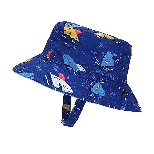 MASOCIO Sonnenhut Baby Kinder Sommermütze Junge Mütze Reversibel Sommerhut Jungen Alter 3-6 Jahre Hai Blau
