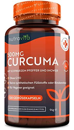Curcuma Extrakt Kapseln – Mit schwarzem Pfeffer & Ingwer – 25.000mg Kurkuma pro Kapsel – Getestet und zertifiziert in Deutschland - Hochdosiert aus 95% Extrakt – 4 Monatsvorrat – Vegan