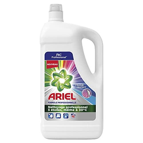 P&G Professional Ariel Professionnel, Colour Protect, Lessive Liquide, Préserve l'Eclat des Couleurs, Nettoie en Profondeur, Efficace à 30°, 90 Lavages, 4,95 L