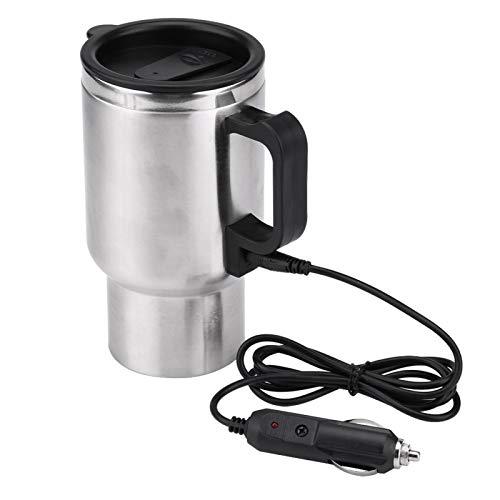 Qiilu Taza calefactora de coche, 12V 450ml Eléctrica en el coche Taza de acero inoxidable para coche Taza calefactora de viaje Taza de café y té Calentador con cable para encendedor de cigarrillos
