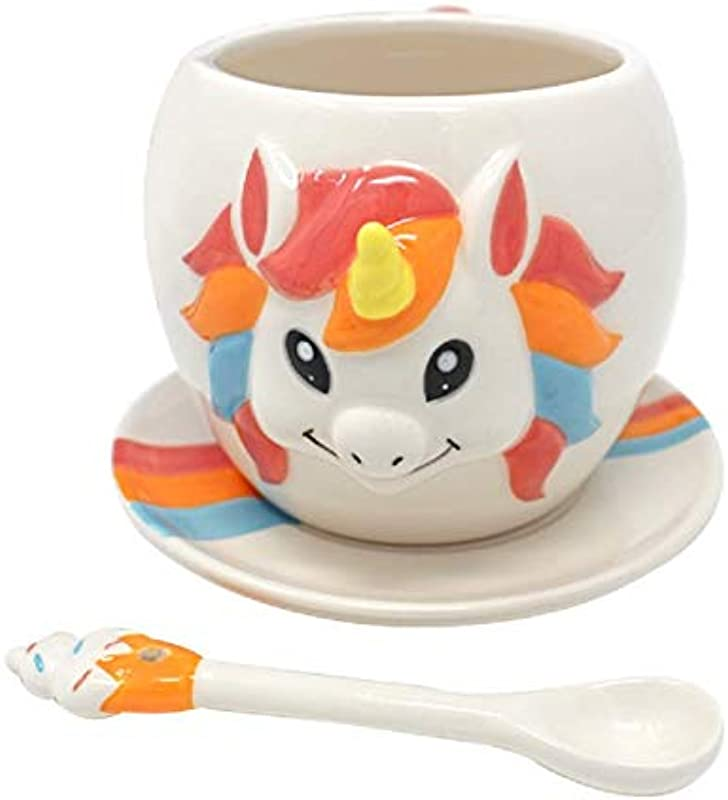 TMR Global 3 Piece Unicorn Mug Set Cool Coffee Cup Rainbow Tea Set Gifts For Girls Women Boys Or Men Rainbow Color