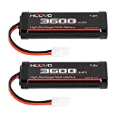 HOOVO 7.2V 3600mAh RC NiMH Battery with Tamiya Plug for RC Car RC Truck Tr LOSI Associated HPI Kyosho Tamiya Quadcopter Drone Hobby(2 Pack)