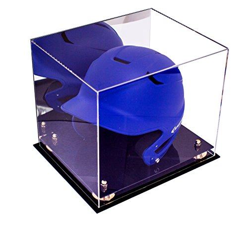 Better Display Cases Acrylic Baseball Batting Helmet Display Case with Mirror and Gold Risers (A012-GR)