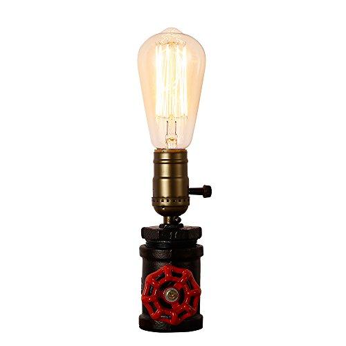 Tischlampe aus gehämmertem Eisen im klassischen Steampunk-Stil mit E27-Edison-Gewinde von Injuicy, rustikale Tischleuchte aus Metall für den Schreibtisch Antik B