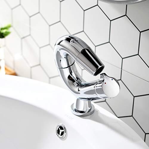 Aimadi Design Mischbatterie Bad Wasserhahn Badarmatur Waschtischarmatur Waschbeckenarmatur Waschbecken Badezimmer Chrom - 5