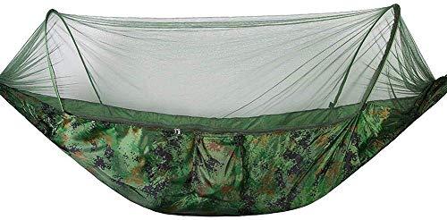 Hamac Camping Lit Double/Simple Hamacs Suspendus Lit avec moustiquaire pour Voyage de Survie en Plein air(Camouflage)