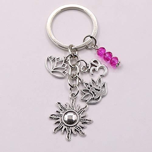 MENGYUE Keychain;1Pcs Rainbow Symbol Keyring Silver Keychain Yoga Chakra Key Chains Sun Charms Lotus Ohm Jewelry