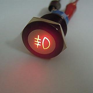 Metall Schalter An/Aus für Auto Nebelschlussleuchte, 12 V, 19 mm, rote LED
