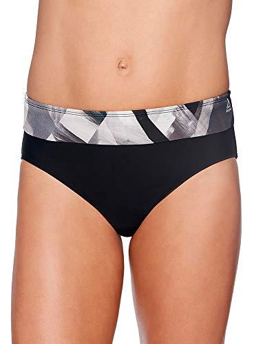 Reebok Lifestyle Women's Swimwear Bold Dynamic Drawcord Brief Bathing Suit Bottom, Black/White, Small
