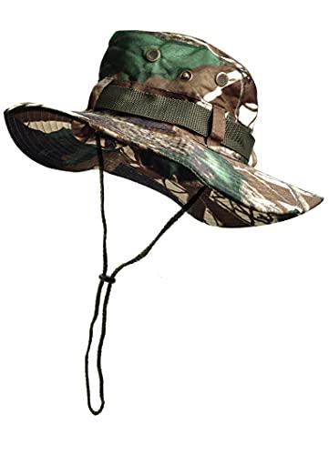 Sombrero de Pescador Camuflaje Plegable, Gorro de Sol para Aire Libre Caza Viaje Pesca, Sombrero de Militar de Algodón para Climb Camping (SFM-2-3)