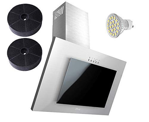 HAAG Vertikal C Edelstahl Schwarz Glas LED, Kohlefilter GRATIS! 60 cm Dunstabzugshaube, Kopffrei, Umluft/Abluft