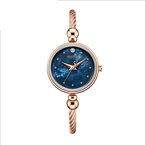 Angelay-Tian Reloj Mecánico For Mujer, Acero Inoxidable, Esfera Simple, Reloj Pequeño, Movimiento De Cuarzo Impermeable, Esfera Perlada, Reloj For Mujer (Color : Rose Gold Blue Surface)