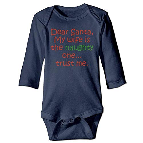 MSGDF Unisex Newborn Bodysuits Dear Santa Naughty Wife Baby Babysuit Long Sleeve Jumpsuit Sunsuit Outfit Navy