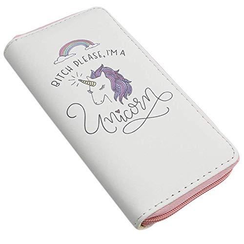 Mujeres Monederos para diseño INTVN Cartera de Unicornio Mujer Zipper Billetera con y 8 Tarjetero Blanco