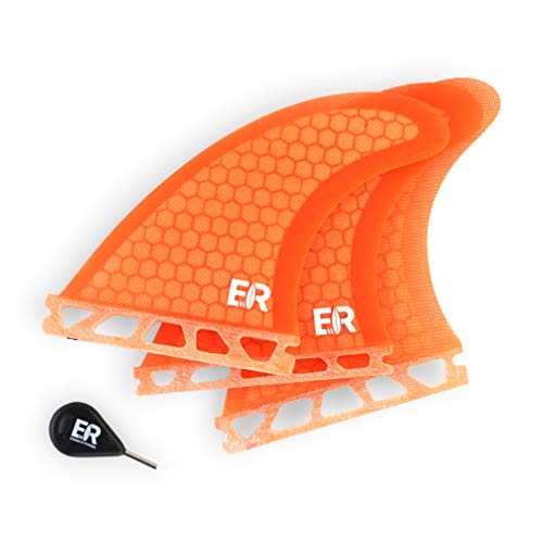 Eisbach Riders - Future Surfboard Fiberglas Honeycomb Thruster Fin Set with Fin Key - Quillas para Tablas de Surf - Size Small/Medium/Large (Orange)