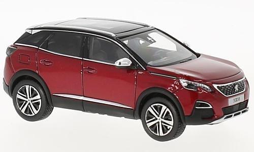 Peugeot 3008 GT, metallic-rot/schwarz, 2016, Modellauto, Fertigmodell, Norev 1:43