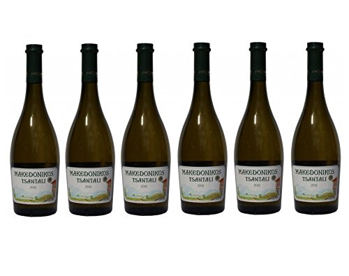 6x Tsantali Makedonikos Weißwein a 750 ml weißer griechischer trockener Wein Weiß Wein trocken 6er Set + 2 Probier Sachets Olivenöl aus Kreta Griechenland a 10 ml