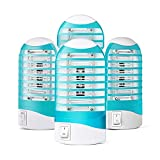 Indoor Bug Zapper for Home, Electric Mosquito Zapper Indoor Plug in, Small Mosquito and Gnat Trap Killer Lamp for Bedroom, Garage, Kitchen, Baby Room 4 Pack