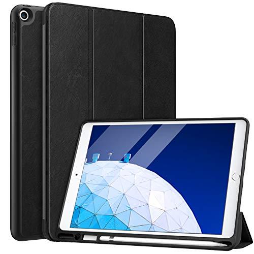 MoKo Custodia per New iPad Air (3rd Generation) 10.5  2019 con Portapenna per Stylus, Protettiva Ultra Sottile, Supporta Funzione Auto Sveglia Sonno per New iPad Air 3 2019 - Nero