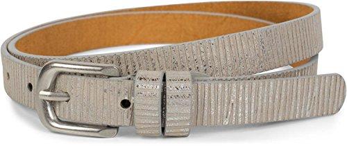 styleBREAKER pequeño cinturón monocolor con rayas metálicas, «vintage», acortable, señora 03010089, tamaño:80cm, color:Plata antigua