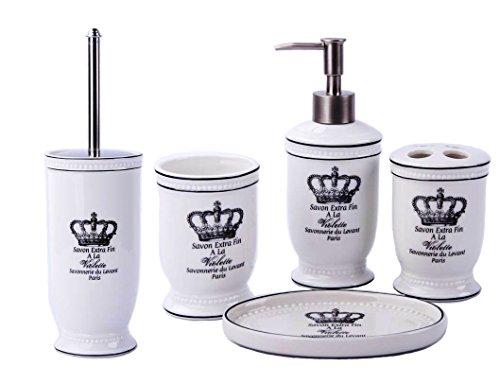 GMMH Paese casa Vintage Corona Set da Bagno Set di Accessori da Bagno Dispenser di Sapone Liquido–Scopino per WC in Ceramica (Set da 5Pezzi)