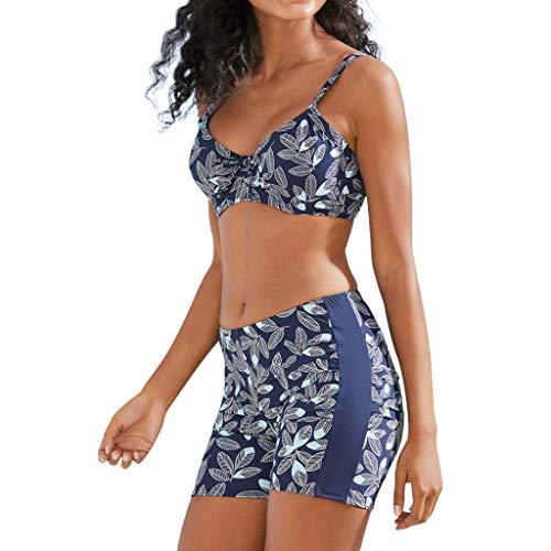 IHEHUA Bikini Damen Bandeau Bademode Verstellbarem Schulterriemen Swimsuit Boho Sexy Rüschen Tankini Set Geblümt Strandkleidung Hoher Taille Schwimmanzug(A-Blau,40)