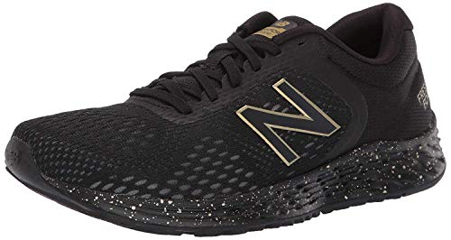 New Balance Women's Fresh Foam Arishi V2 Running Shoe, Black/Black/Metallic Gold, 8.5 M US