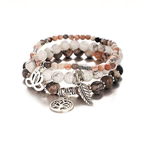 UEUC Baum des Lebens Yoga Heilstein Armbänder, mehrschichtige Lotus Chakra Stein Reiki Armband Sets, Angst Kristall Naturstein, für Frauen Stressabbau
