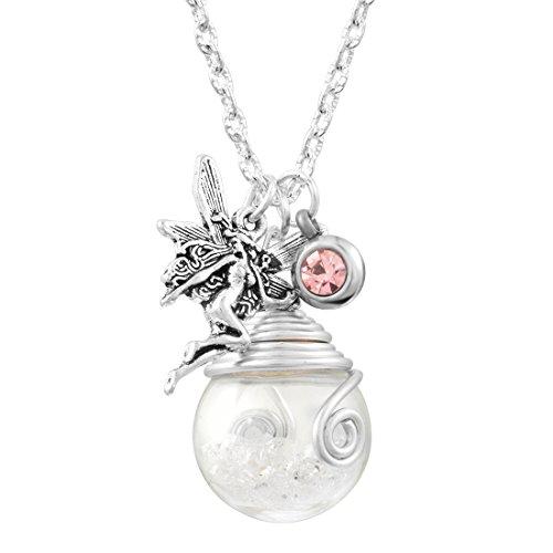 MJARTORIA Damen Mädchen Vintage Kette Glück Halskette Glas Anhänger mit Elfe Amulett und Bunt Strass Wünschen Glasflasche Silber Farbe (Weiss)