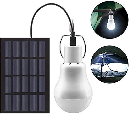 ALOOYAK Solar Powered Led Light Bulb Portable Lantern Lamp Spotlight with Solar Panel for Outdoor Hiking Camping Tent Fishing Lighting