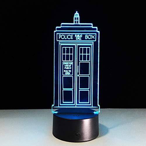 Mddjj 1 Stück 7 Farben Ändern Lampe Polizei Box 3D Lampe Acryl Led Usb Tischlampe Tardis Lichter Mehrfarbige Blenden Licht Schlafzimmer Licht