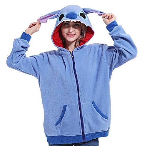 Lazutom Unisex Cartoon Cosplay Hoodies Frauen Anime Zipper Sweatshirt Jacke Mantel (Blue Stitch, Klein)