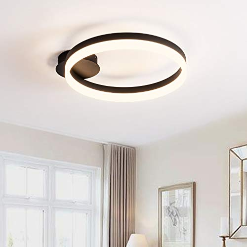 Royal Pearl Modern Ceiling Lighting LED Dimmable Flush Mount Ceiling Light Fixture Round Light Fixtures for Kitchen Dining Room Living Room Bedroom Warm White 3000K Black