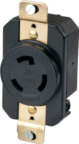 Marinco 206R 20 Amp, 250 Volt, Receptacle, Locking