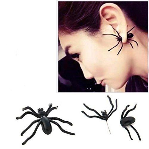 Guangcailun Regalos de Las Mujeres Pendientes del Pendiente de la araña de Halloween 1pc Negro Personalidad de Doble Cara