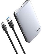 UGREEN Harde Schijf Behuizing USB 3.1 Gen 2 2.5 Inch SATA III II I Harde Schijf Adapter voor SSD HDD 9,5mm/ 7mm 6TB Max 6Gbps UASP SATA Behuizing Ondersteunt Windows Mac OS Linux voor Router PC PS3/ 4 Xbox, A naar C Kabel Aluminium