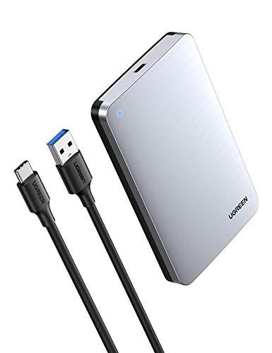 UGREEN Case Esterno per Disco Rigido USB C 3.1 Gen 2 UASP 6Gbps Case Hard Disk Esterno per 7mm e 9.5mm SATA I II III HDD SSD 2.5'' da 6TB Compatibile with Samsung WD Toshiba Seagate Hitachi, PS4, Xbox